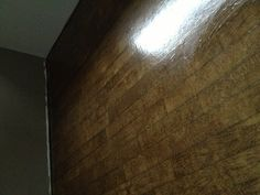 Paper floor paper cut and stained to look like planks. - I'd make WIDE planks. Paper Bag Flooring, Diy Flooring, Flooring Options, Flooring Ideas, Painted Concrete Floors, Stained Concrete, Brown Paper Bag Floor, Floors And More, Home Remodeling