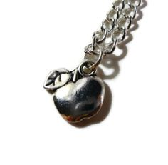Silver Apple Necklace Fruit Necklace Charm by BusyBeeBeadedJewelry, $8.95
