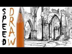 How to draw architecture | Rysunek architektoniczny - Gothic Ruins Speed Drawing 10 - YouTube