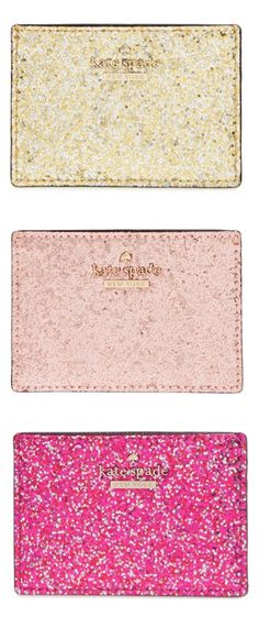 I WANT ONE!!!!!!!!!!  Glitter pouches by kate spade new york? Yes, please!