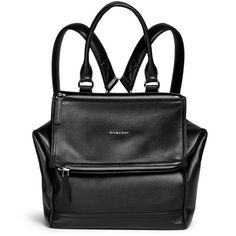 Givenchy 'Pandora' grainy leather backpack ($2,265) ❤ liked on Polyvore featuring bags, backpacks, bolsas, black, flap backpack, backpacks bags, leather flap bag, genuine leather bag and urban backpack
