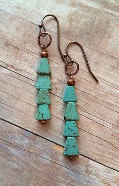 Boho Earrings, Turquoise Earrings, Arrow Jewelry Geometric Jewelry on Etsy, $20.00