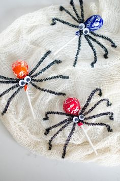 Make lollypop spiders with pipe cleaners and googly eyes.
