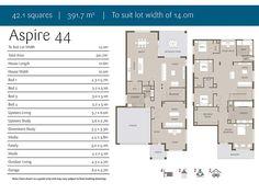 Floor plan of Aspire 44: Double Storey House. 4 bedroom, two living areas.