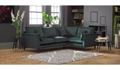 Buy Argos Home Hector Right Corner Velvet Sofa - Green | Sofas | Argos Bolster Cushions, Scatter Cushions, Grey Velvet Sofa, Free Fabric Swatches, Green Sofa, Furniture Care, Velvet Fashion, Corner Sofa, Argos