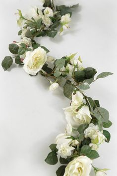 """26.00 SALE PRICE! White Rose 6 foot Silk Garland.. Filled with open roses, veined leaves and rose buds.. 6' long on wired garland. Roses range in 3/4"""" b..."""