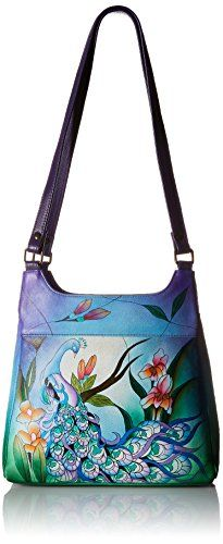 Women's Shoulder Bags - Anuschka Handpainted Leather Medium Hobo Midnight Peacock >>> Read more at the image link.