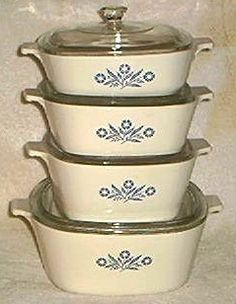 dinnerware - Corning Ware Cornflower Blue dishes. I still use these.