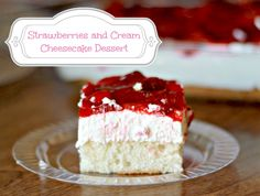 Strawberry & Cream Dessert Cake Recipe #strawberries