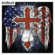 Diamond Painting Red American Cross and Dog Tags Kit I Love America, God Bless America, Patriotic Tattoos, Rebel Flag Tattoos, Patriotic Pictures, Patriotic Quotes, Cross Wallpaper, Military Tattoos, American Flag