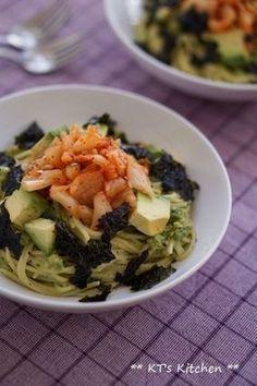 アボカドとキムチ、韓国海苔のパスタ|レシピブログ