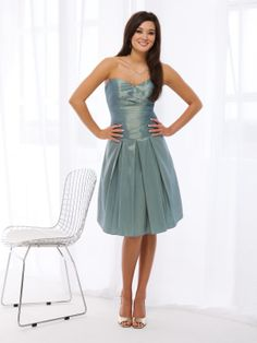 Ball gown sleeveless taffeta knee-length bridesmaid gown