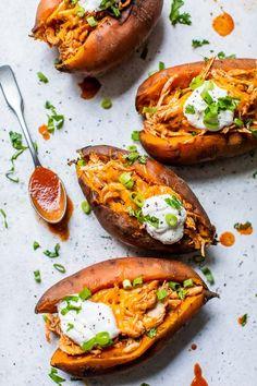 Loaded Sweet Potato, Sweet Potato Recipes, Chicken Recipes, Slow Cooker Sweet Potatoes, Slow Cooker Chicken, Skinny Taste Chicken Enchiladas, Skinnytaste Slow Cooker, Skinnytaste Recipes, Recipes With Enchilada Sauce