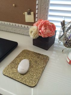 Gold Glitter Mouse Pad  Handmade by EvelynGold on Etsy, $11.95
