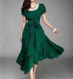 Vert couleur Jade longue jupe de mousseline de soie par swanstore, $59.99