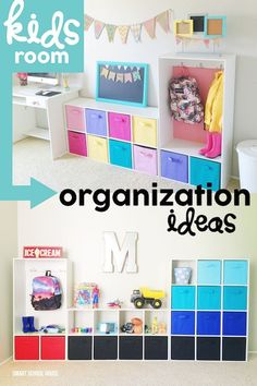 Kids Room Organization Ideas. Organize toys, school supplies, and even clothing in a cute and colorful way.