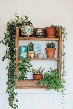 A beautiful and simple kitchen shelf, made from rustic pallet wood to hold herbs and capture the fascinating magic of plants. A beautiful and simple kitchen shelf, made from rustic pallet wood to hold herbs and capture the fascinating magic of plants. Diy Kitchen Shelves, Bathroom Shelves, Kitchen Cabinets, Sweet Home, Decoration Plante, Home And Deco, My New Room, Boho Decor, Rustic Wood Decor