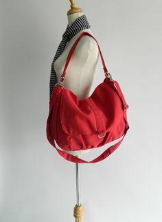Daniel in Red // Shoulder bag / Messenger / tote bag / Hobo / Diaper bag / Handbag / For Her / new Mom / Women