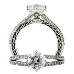 Ritani - 1R2804DR - Anadaré diamond engagement ring featuring a prong set round cut center stone with diamonds on the undergallery and a micropavé split shank.