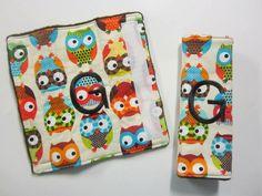 Monogrammed Boy Owl Car seat Strap Covers. $8.00, via Etsy.