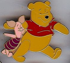 Walt Disney's Winnie the Pooh - Pooh & Piglet full body pin.  Pals Pin Series Pooh and Piglet. This pin shows Pooh and piglet walking arm and arm. Pooh's Leg is raised in front of him like he is about to take another step.