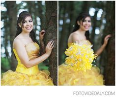 Be bold and brazen with a yellow Quinceanera dress. We <3 the bouquet \\ Photo Credit: Lupe Juarez Photography