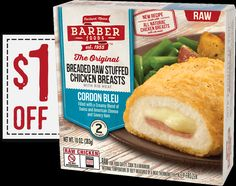 Score a coupon for $1 off Barber frozen stuffed chicken breasts!