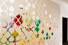 tearable wallpaper lets colors from an abstract mural (child's painting) through