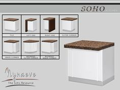Soho Kitchen - Counter Island Found in TSR Category 'Sims 4 Counters' Sims 4 Kitchen, Kitchen Tile, Kitchen Stuff, Sims 4 Tsr, Sims Cc, Sims 4 Beds, The Sims 4 Packs, Sims 4 Black Hair, Sims 4 Characters
