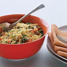 Using whole-wheat couscous adds fiber to this side dish. Serving it at room temperature, rather than chilled, allows the flavors to come through.