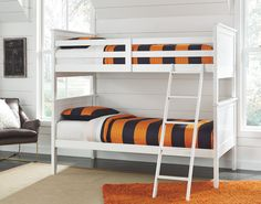 Lulu - Twin over Twin Bunk Bed with Nightstand by Signature Design by Ashley. Get your Lulu - Twin over Twin Bunk Bed with Nightstand at Inhome Furniture Gallery, Victorville CA furniture store. Bunk Bed Rail, Bed Rails, Two Twin Beds, Twin Bunk Beds, Twin Twin, White Bunk Beds, Bed Slats, Metal Beds, Bedroom Furniture