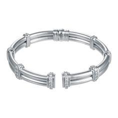 Scott Kay Platinum Jewelry Platinum 4mm Tubular Bracelet With Pave Diamonds 1.08ct