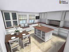 YOU DECIDE - Did they choose the right pillows and blinds for this space? :)  3D floor plan for remodeled kitchen designed in RoomSketcher Premium by RoomSketcher Design Team: http://www.roomsketcher.com/features/homedesign/