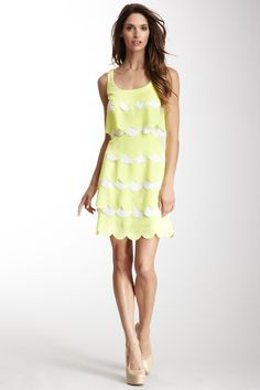 Julia Jordan Scallop Tiered Dress