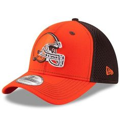 quality design d137a 8a45e Men s New Era Orange Brown Cleveland Browns Team Front Neo 39THIRTY Flex Hat