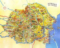 Illustrated Map of Romania, 1930s