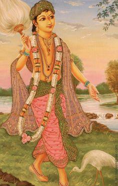 This Art poster is prepared by ISKCON desire tree for the pleasure of Srila Prabhupada and the devotee community. Krishna Lila, Little Krishna, Krishna Radha, Lord Krishna, Mughal Miniature Paintings, Mughal Paintings, Krishna Images, Silk Painting, Indian Art