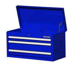 "Craftsman 27"" 3-drawer Std Duty Ball Bearing Slides Top Chest Blue- Includes…"