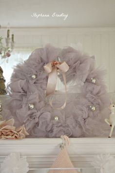 Here's another tutu wreath I made. I call this one. Christmas Fairy, Pink Christmas, Beautiful Christmas, Handmade Christmas, Vintage Christmas, Christmas Holidays, Happy Holidays, Christmas Crafts, Christmas Decorations