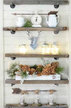Five Tiny Bathroom Decorating Ideas: Farmhouse Style -- industrial shelves