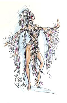 "Mackie's ""Believe"" imagines Cher in razzle-dazzle top form. • Bob Mackie helps Cher light up the Vegas stage Also in Image: • The Big Deal: Shoe bargains to get lost in • Bob Mackie, Sport Fashion, Fashion Art, Fashion Design, High Fashion, Movie Costumes, Dance Costumes, Burlesque, Cher Costume"