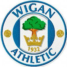Football Team Logos, Sport Football, Soccer, Wigan Athletic, British Football, Crests, Fifa, Badges, Mustang