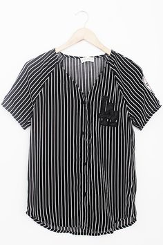Stripe Baseball Button Up, I want to wear this whenever I get ready for an event, that way, I don't worry about pulling a short over my hair..plus it's comfy.:)