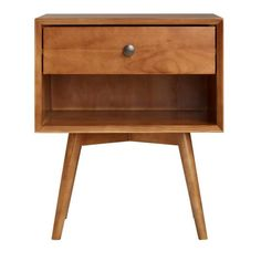 Construct a modern look in your bedroom with this Walker Edison Furniture Company Mid Century Caramel Solid Wood Nightstand. Open and closed storage. Plywood Furniture, Repurposed Furniture, Bedroom Furniture, Furniture Ideas, Industrial Furniture, Mcm Furniture, Furniture Buyers, Vintage Furniture, Wood Nightstand