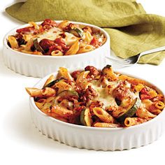 Penne Rigate with Spicy Sausage and Zucchini in Tomato Cream Sauce Recipe | Cooking Light #myplate #protein #veggies #dairy