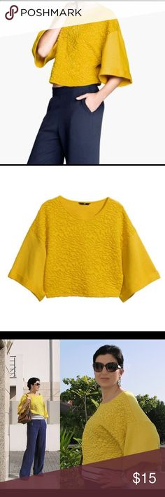 H&M yellow textured sweatshirt. Worn once. Like new condition. Bell sleeves, crop top style. Mustard yellow color. H&M Tops Crop Tops