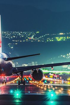 Airport lights at night: