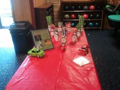 Boys, bowling, and cars was the theme of this candy station for two young brothers celebrating their birthdays