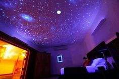 SPACE THEME ROOMS - We bought our house before our first child was even born and one of our first projects was painting a kids space room in our spare bedro Galaxy Room, Comfy Bedroom, Dream Bedroom, Kids Bedroom, Bedroom Night, Master Bedroom, Dark Ceiling, Ceiling Stars, Decorating Rooms