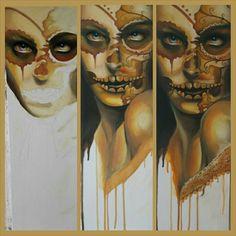 GoldenSkull Painting, Art, Craft Art, Painting Art, Kunst, Paintings, Drawings, Art Education, Sanat
